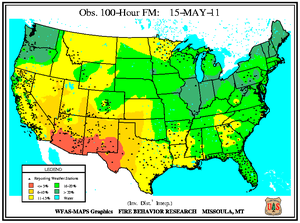 100-hr Fuel Moisture Map for May 15