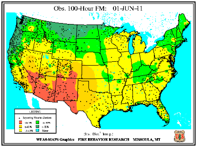 100-hr Dead Fuel Moisture Map on 31 May 2011