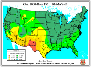 1000-hr Fuel Moisture Map for May 1