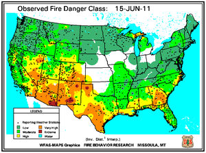 Fire Danger Map for June 15