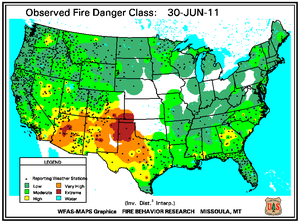 Fire Danger map from 30 June 2011