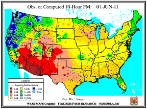 10-hr Fuel Moisture Map for June 1