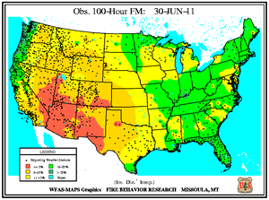 100-hr Dead Fuel Moisture Map on 30 June 2011