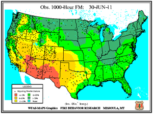 1000-hr Fuel Moisture Map for June 30