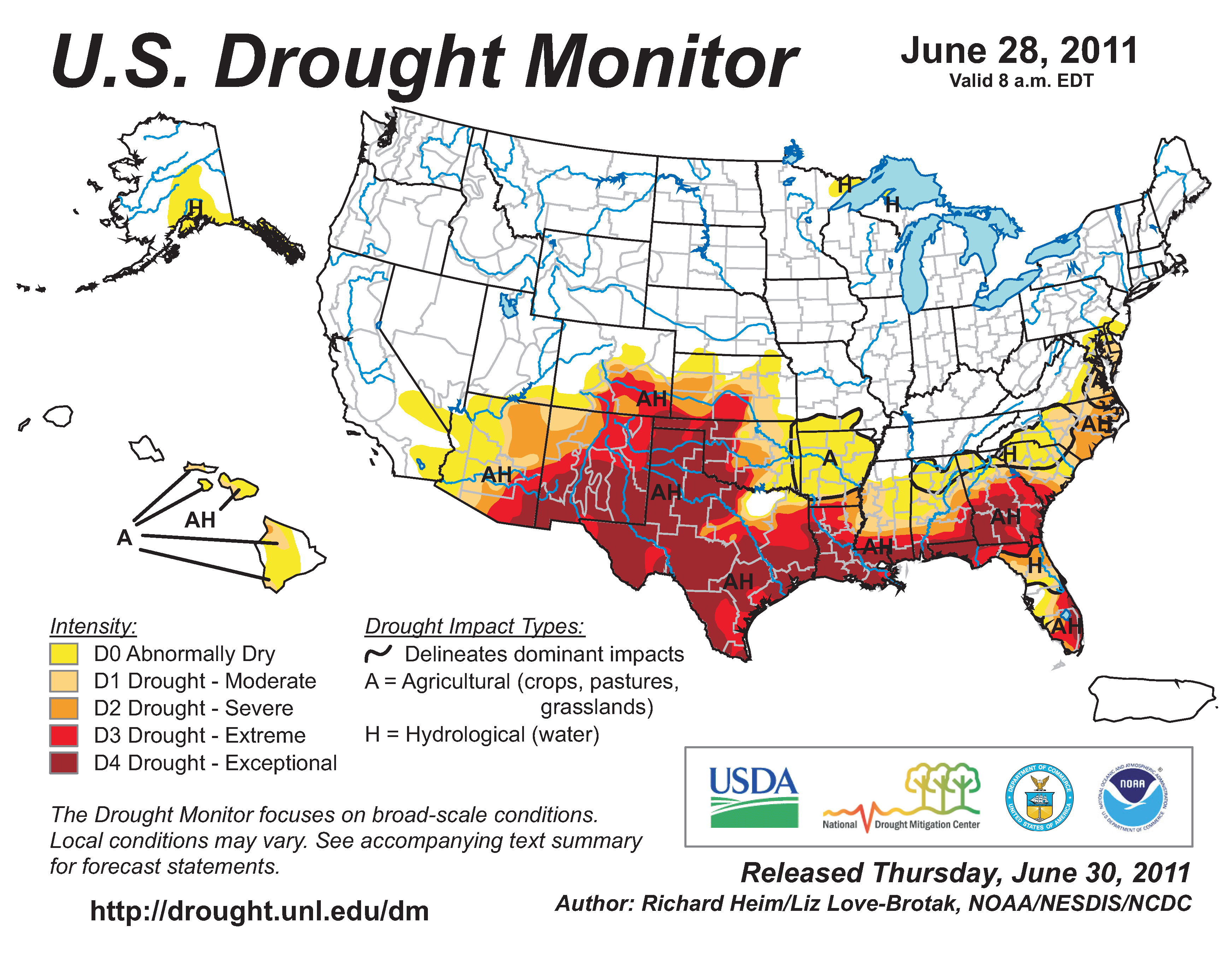U.S. Drought Monitor map from 28 June 2011