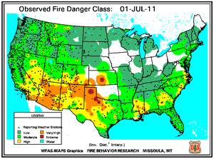 Fire Danger Map for July 1