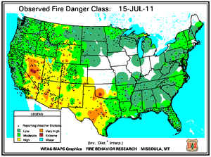 Fire Danger Map for July 15
