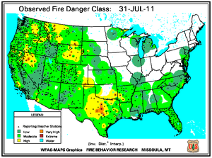 Fire Danger Map for July 31