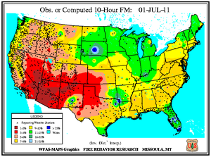 10-hr Fuel Moisture Map for July 1