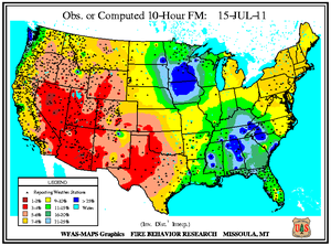 10-hr Fuel Moisture Map for July 15