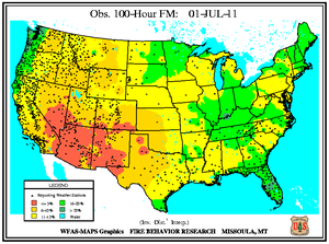 100-hr Fuel Moisture Map for July 1