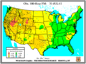 100-hr Fuel Moisture Map for July 31