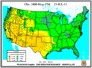 1000-hr Fuel Moisture Map for July 15