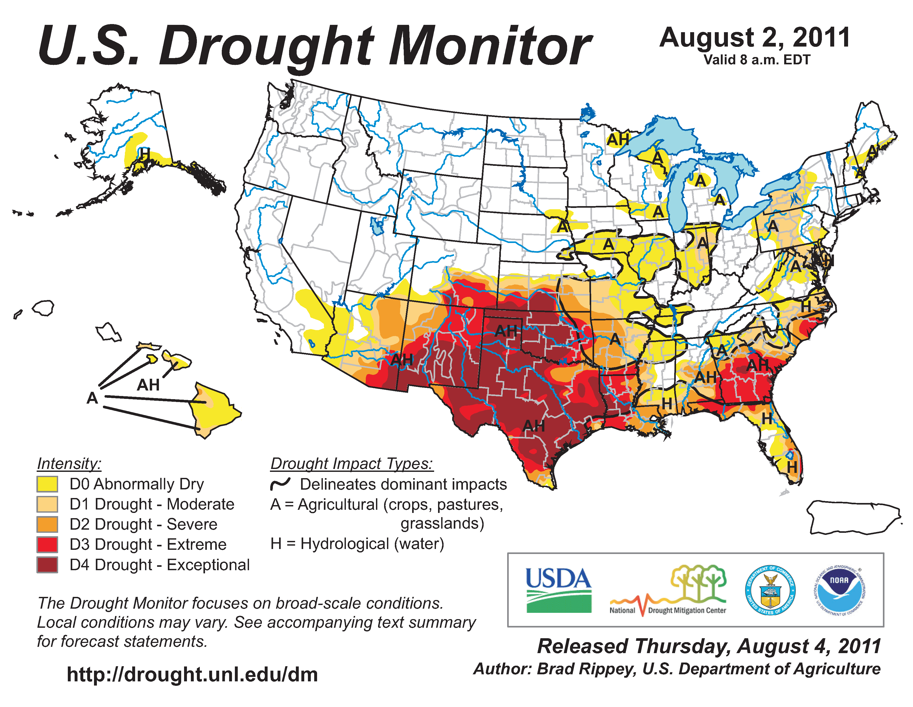U.S. Drought Monitor map from 2 August 2011