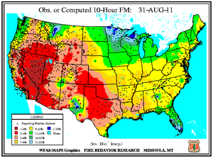 10-hr Fuel Moisture Map for August 31