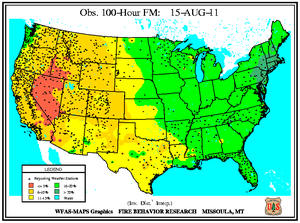 100-hr Fuel Moisture Map for August 15