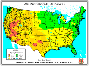 100-hr Fuel Moisture Map for August 31