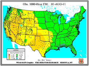 1000-hr Fuel Moisture Map for August 1