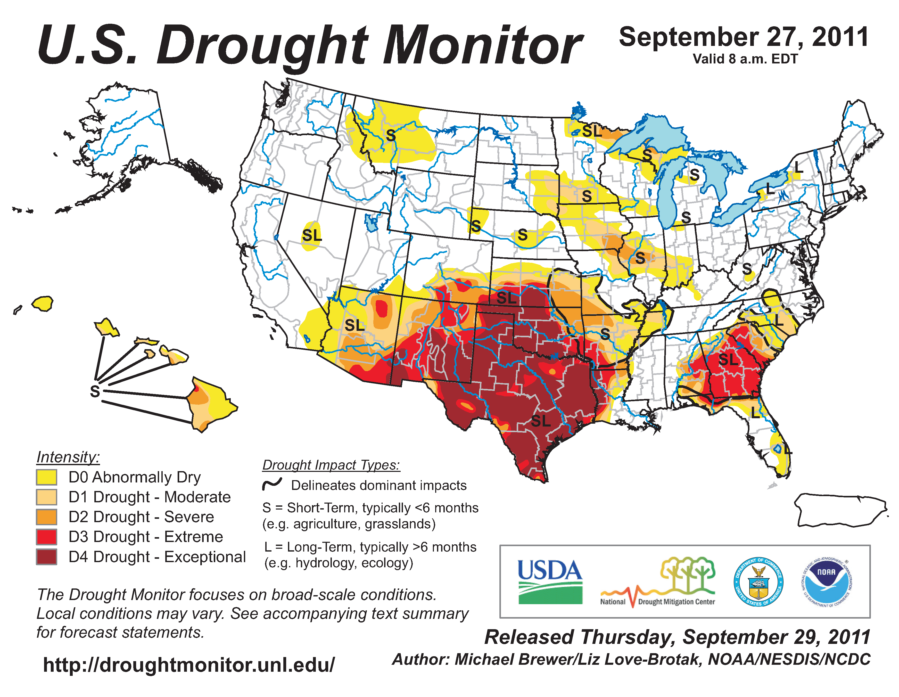 U.S. Drought Monitor map from 27 September 2011