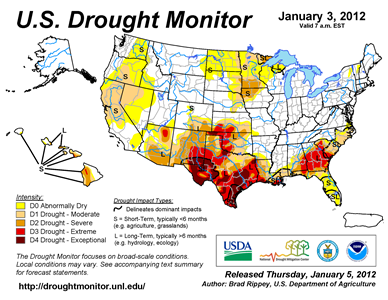 U.S. Drought Monitor map from 3 January 2012