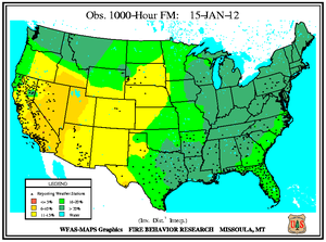 1000-hr Fuel Moisture Map for January 15