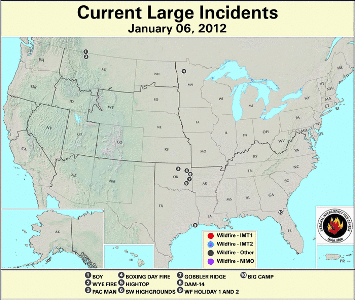 Large Wildfires January 6nd
