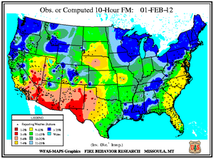 10-hr Fuel Moisture Map for February 1