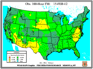 100-hr Fuel Moisture Map for February 15