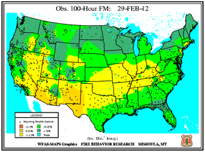 100-hr Fuel Moisture Map for February 29