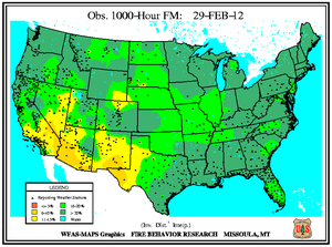 1000-hr Fuel Moisture Map for February 29