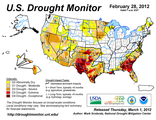 U.S. Drought Monitor map from 28 February 2012