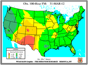 100-hr Fuel Moisture Map for March 31