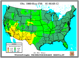1000-hr Fuel Moisture Map for March 1