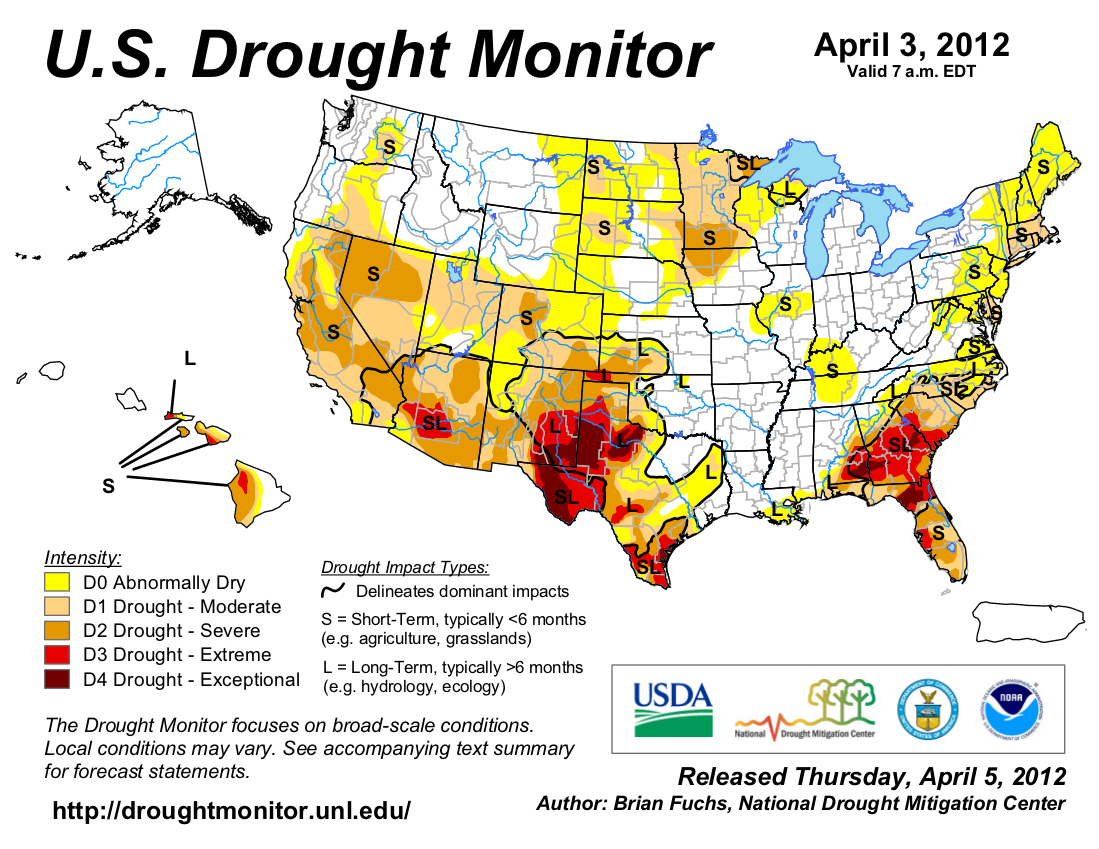 U.S. Drought Monitor map from 3 April 2012
