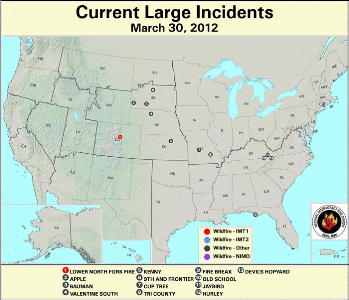 Large Wildfires March 30