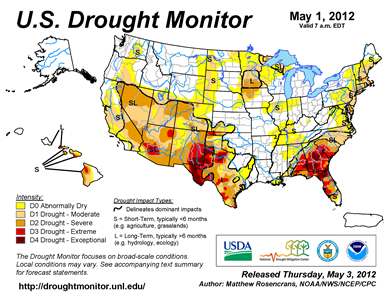 U.S. Drought Monitor map from 1 May 2012