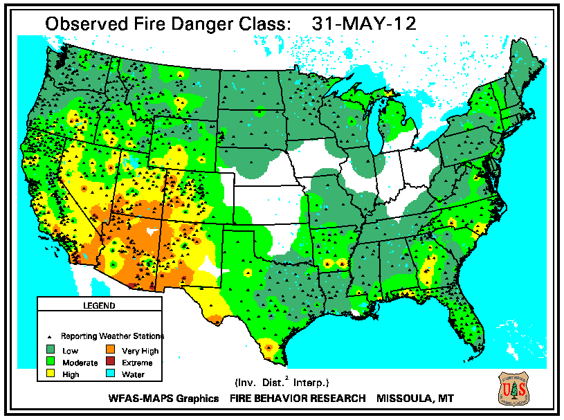 may 31 fire danger map for may 31