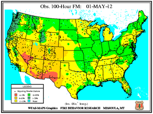100-hr Fuel Moisture Map for May 1