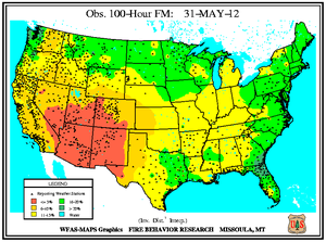 100-hr Fuel Moisture Map for May 31