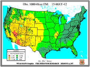 1000-hr Fuel Moisture Map for May 15