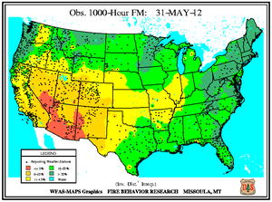 1000-hr Fuel Moisture Map for May 31