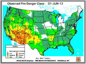 Fire Danger Map for June 1