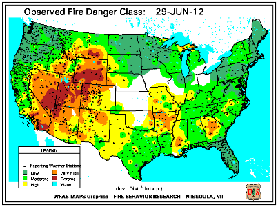 Fire Danger Map for June 30