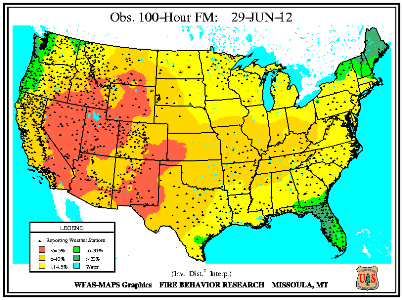 100-hr Fuel Moisture Map for June 30