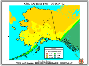 Alaska 100-hr Fuel Moisture Map for June 1