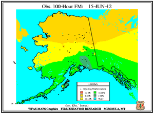 Alaska 100-hr Fuel Moisture Map for June 15