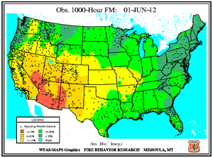 1000-hr Fuel Moisture Map for June 1