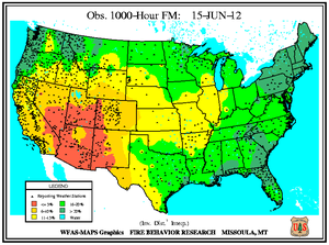 1000-hr Fuel Moisture Map for June 15