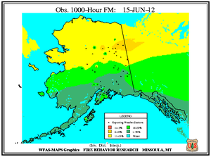 Alaska 1000-hr Fuel Moisture Map for June 15