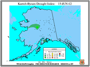 Alaska KBDI Map for June 15